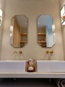 espejos de baño rusticos de madera