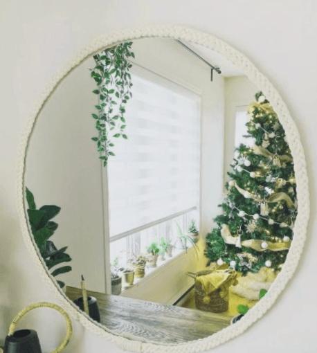 espejos redondos blancos