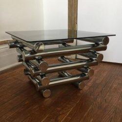 mesa cristal cuadrado ahumado